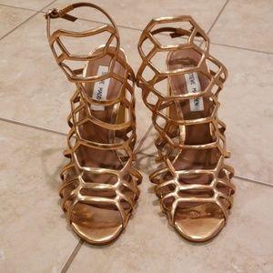 STEVE MADDEN Rose Gold Caged Heels 8.5M